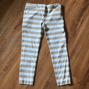 NY & Company Horizontal Stripe Skinny Ankle Pants